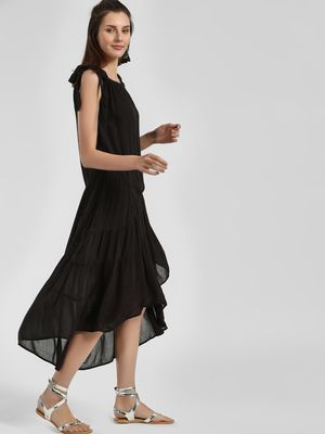 Kisscoast Tie Strap Tier Asymmetric Dress