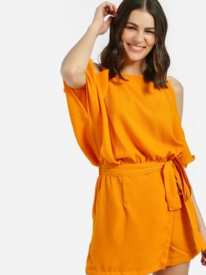 Noble Faith Cold Shoulder Belted Waist Playsuit