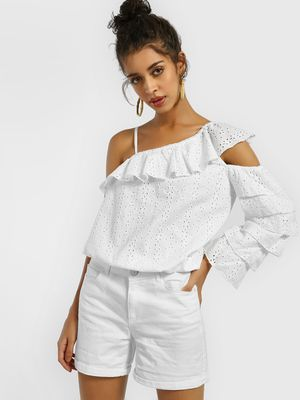 KOOVS One Shoulder Broderie Top