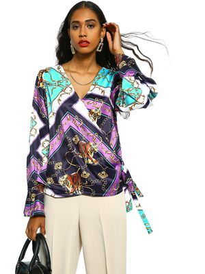KOOVS Tiger Baroque Print Wrap Blouse