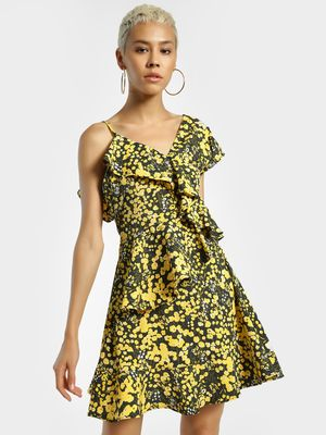 KOOVS Floral Print Ruffled Skater Dress