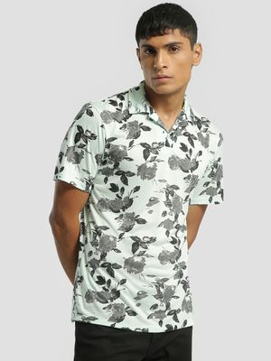 KOOVS Rose Print Cuban Collar Polo Shirt