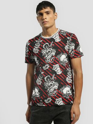 KOOVS Skull Tattoo Print Slim T-Shirt
