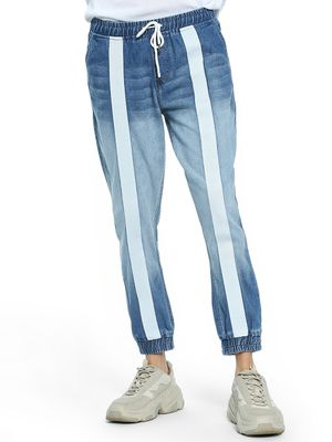 K Denim KOOVS Contrast Tape Washed Denim Joggers