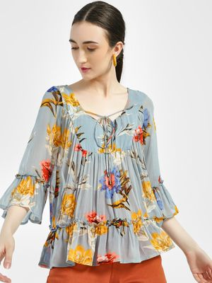 Miaminx Floral Print Tiered Blouse