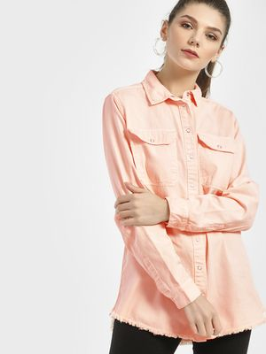New Look Frayed Hem Oversized Shirt