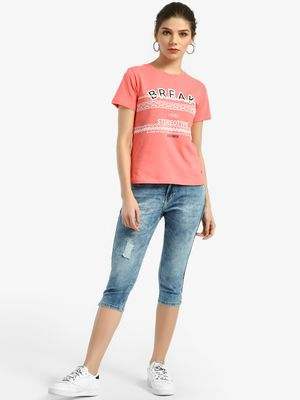 Lee Cooper Acid Wash Side Tape Cropped Jeans