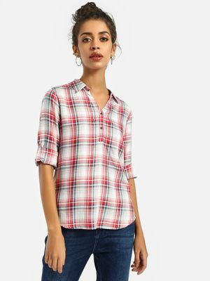 Lee Cooper Half-Placket Checked Shirt