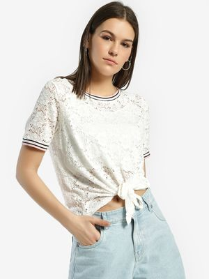 Lee Cooper Ringer Lace Tie-Knot T-Shirt