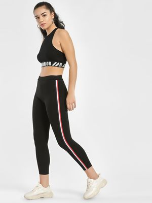 Street9 Contrast Side Tape Cropped Leggings