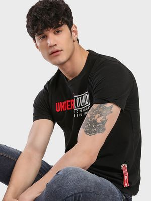 UMM Embroidered Graphic Text Print T-Shirt