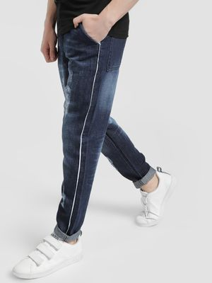 REALM Mid-Wash Distressed Side Piping Slim Jeans