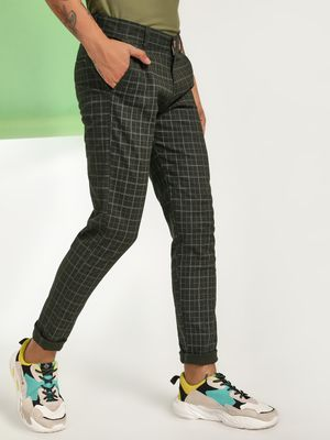 AMON Grid Check Slim Trousers