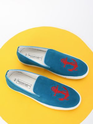 Bolt Of The Good Stuff Sailor Embroidered Suede Slip-On Shoes