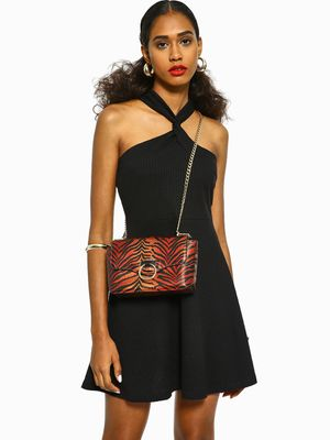KOOVS Ribbed Criss-Cross Skater Dress