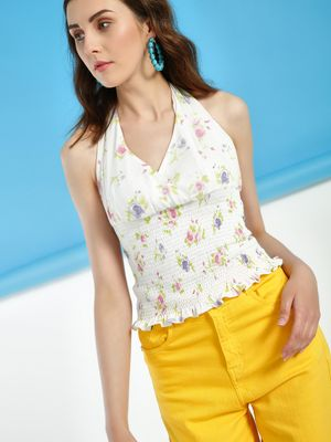 KOOVS Floral Print Smocked Top