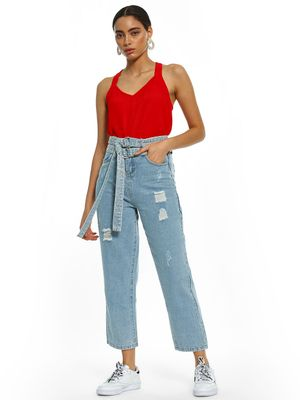 K Denim KOOVS Light Wash Distressed Cropped Jeans