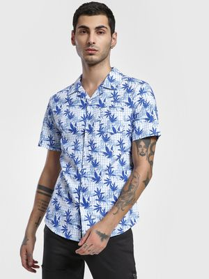 Spring Break Leaf Print Cuban Collar Shirt