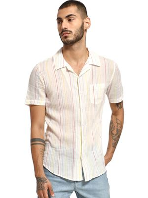 Spring Break Shimmer Pinstripe Cuban Collar Shirt