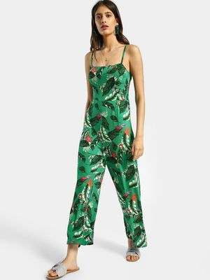 KOOVS Tropical Print Strappy Jumpsuit