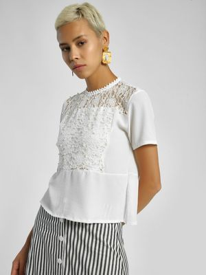 Privy League Pearl Crochet Lace Blouse