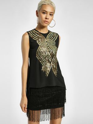 Privy League Sequinned Embellished Sleeveless Blouse