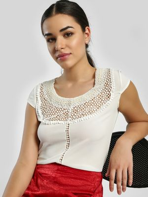 Privy League Pearl Embellished Yoke Crochet Lace Blouse