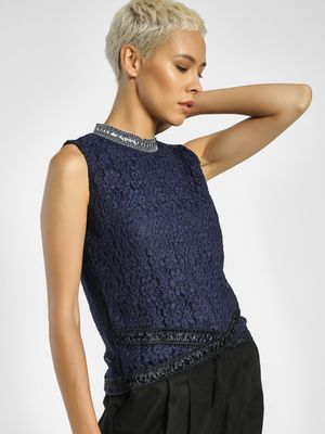 Privy League Crochet Lace Sequin Detail Blouse