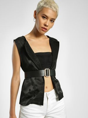 Privy League Jacquard Sleeveless Jacket