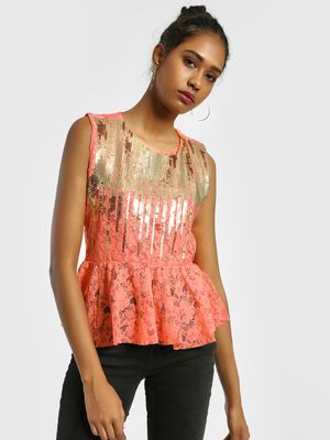 Privy League Sequined Lace Detail Peplum Blouse