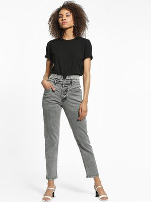 K Denim KOOVS Light Wash High-Waist Straight Jeans