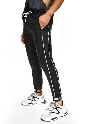 K ACTIVE KOOVS Contrast Piping Mesh Panel Joggers