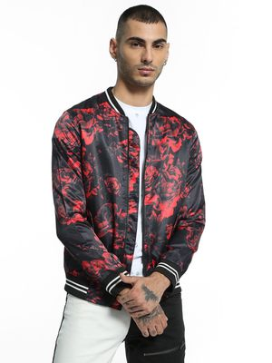 KOOVS Rose Print Satin Bomber Jacket