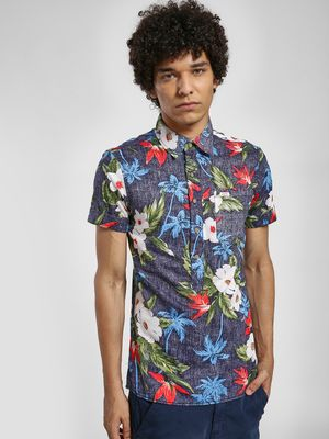 Alcott Tropical Floral Print Long Shirt