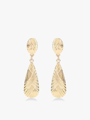 VOODOO VIXEN Textured Gold Drop Earrings