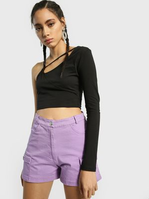 KOOVS Asymmetric Cut-Out Crop Top