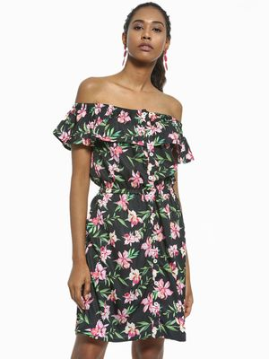 Daisy Street Floral Print Off-Shoulder Shift Dress