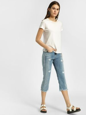 HEY Light Wash Distressed & Cropped Boyfriend Jeans