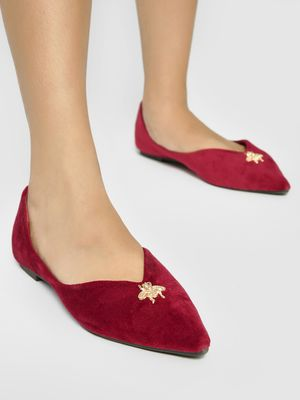My Foot Couture Brooch Stud Suede Ballerinas