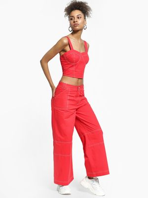 KOOVS Contrast Stitch Wide Leg Trousers