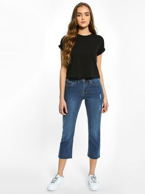 K Denim KOOVS Mid-Wash Cropped Straight Jeans