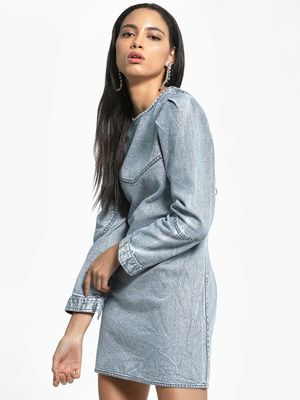K Denim KOOVS Acid Wash Mini Denim Dress