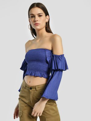Sbuys Smocked Flared Sleeve Crop Top