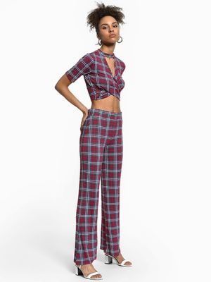 KOOVS Multi-Check High Waist Trousers