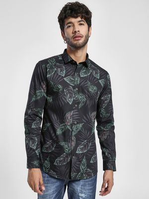 Green Hill Large Leaf Print Casual Shirt