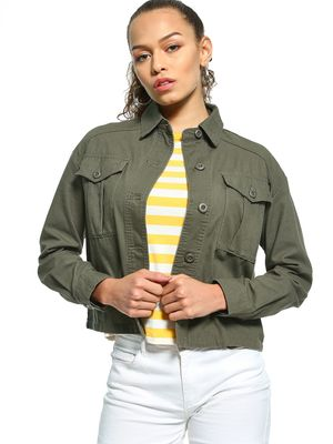 New Look Oversized Cropped Utility Shacket