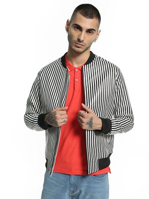KOOVS Vertical Stripe PU Bomber Jacket