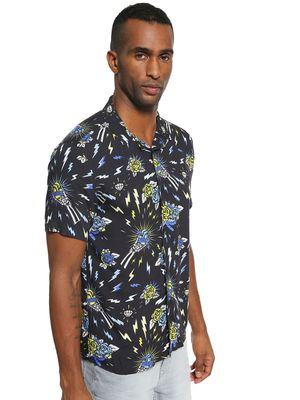 KOOVS Tattoo Print Cuban Collar Shirt