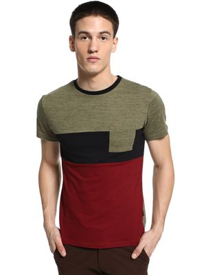 KOOVS Colour Block Crew Neck T-Shirt