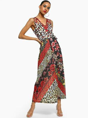 101 IDEES Animal Paisley Print Maxi Dress
